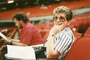 At the Astrodome, 1990.  That's Hubby on the left.  She loved sports, and going to see the Astros play was a joy for her, even when they lost.
