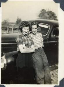 With her friend Betty Jean in Stonewall, LA  1943